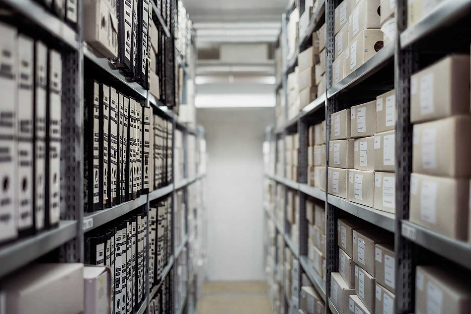 Archive boxes on shelves