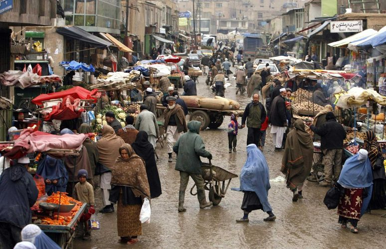 Busy market in Afghanistan