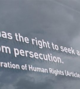 Article 14 of the Universal Declaration of Human Rights written on glass