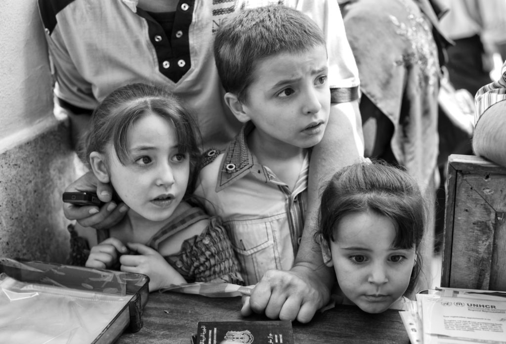 Black and white photo of Syrian children