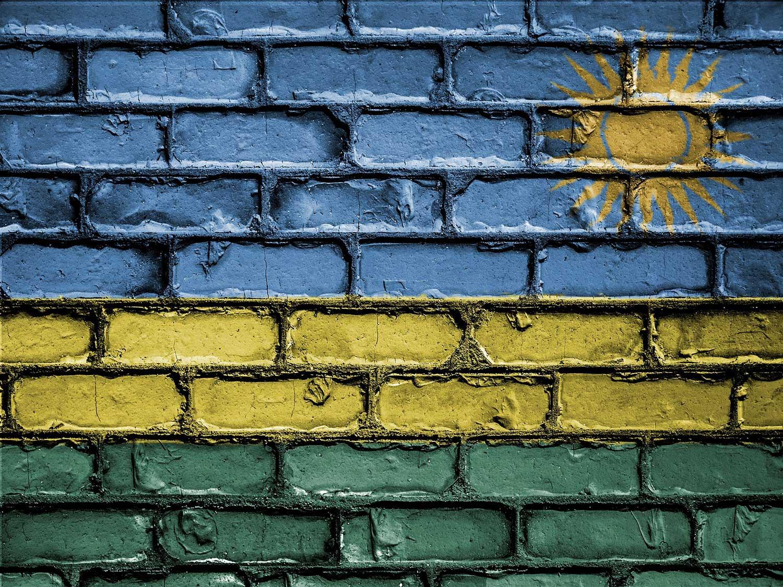 Rwandan flag painted on wall