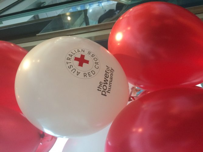 Red Cross balloons in red and white