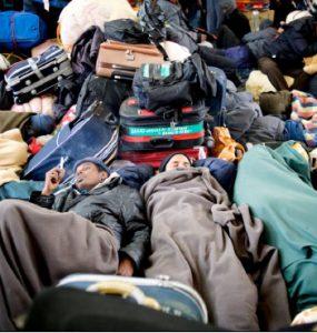 People sleeping in jumble