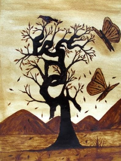 Painting of tree with mountains in background and butterfly