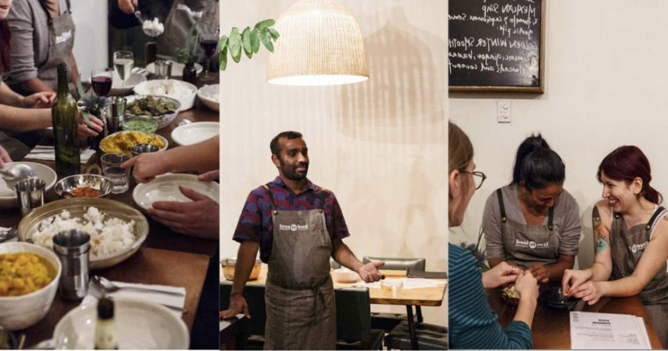 Montage of three images, one of food on tabl, one of a man in apron, and one of three people meeting
