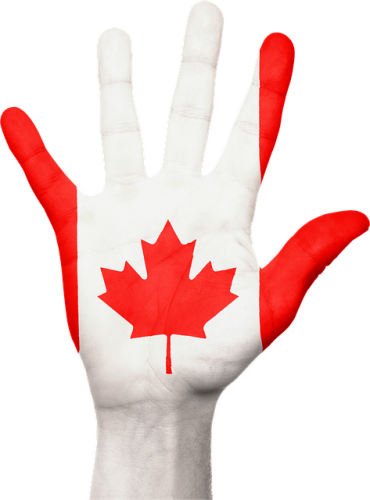 Hand with Canadian flag painted
