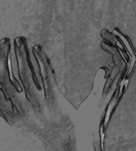 Charcoal drawing of open hands