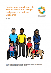Front cover of report with cartoon of family with one in a wheelchair and a guide dog