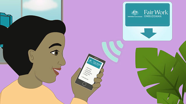 Cartoon of woman holding mobile phone with wi-fi signal