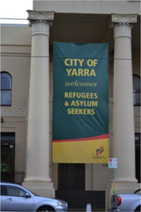 City of Yara welcomes refugees and asylum seekers banner