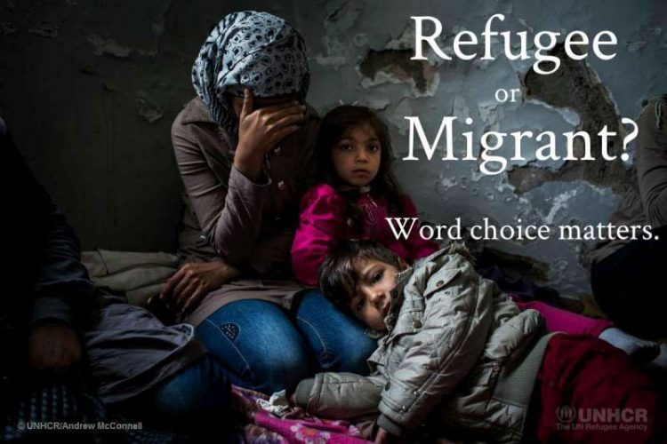 Refugee holding child with words Refugee or Migrant? Word choice matters
