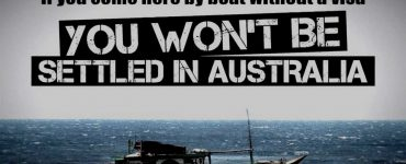 Boat in water wth headline if you come here by boat and without a visa you won't be settled in Australia
