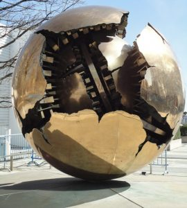 Gold globe New York UN monument