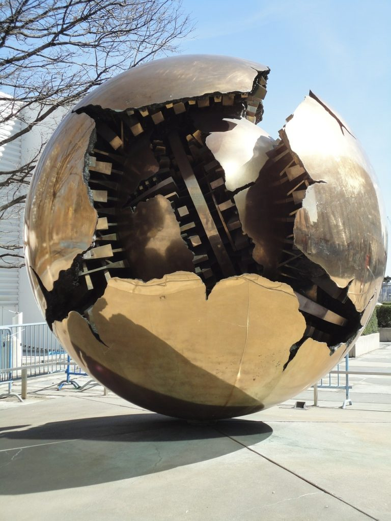 Gold globe New York UN monument