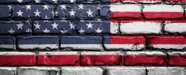 US flag painted on wall