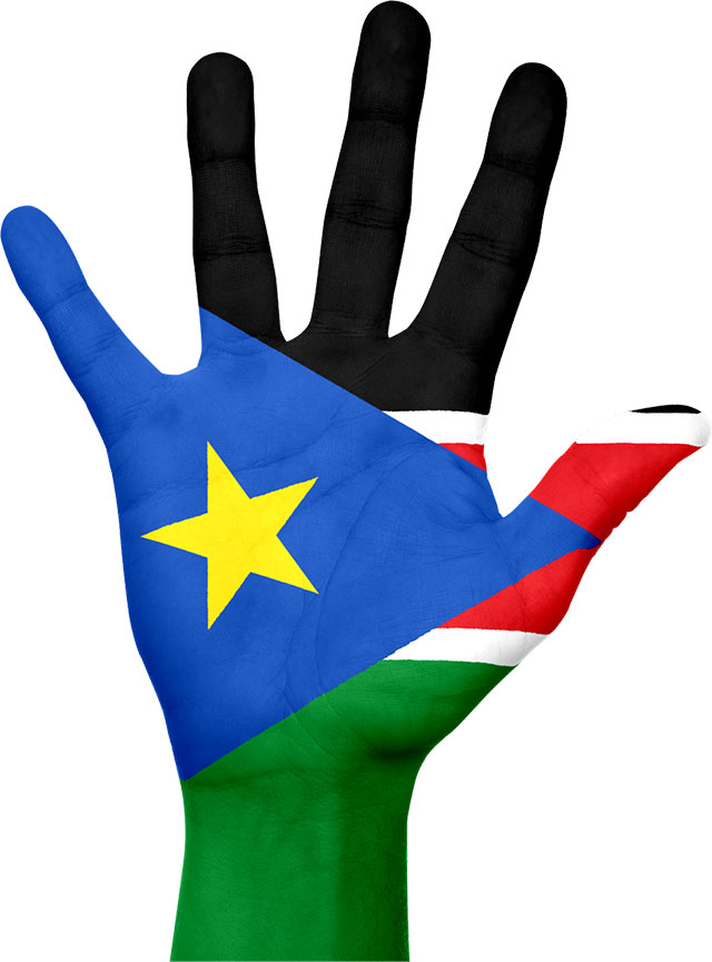 Hnad with South Sudanese flag