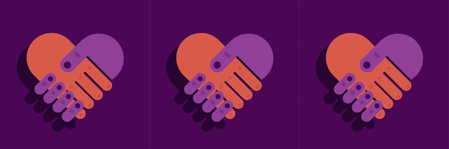 Icons of two hands holding each other against purple background