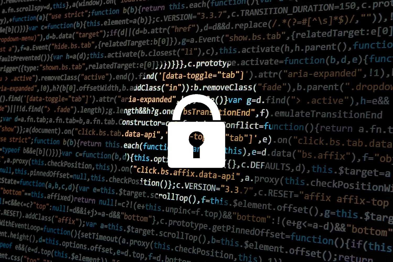 Data with large padlock in spotlight
