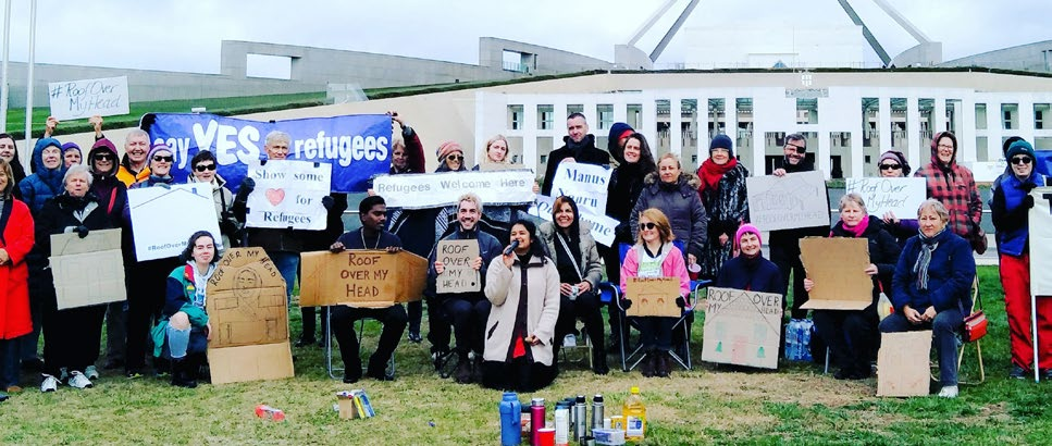 Protesters outside Parliament House