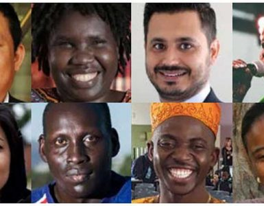 Montage of diverse refugee faces
