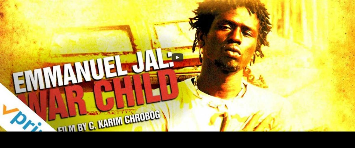 Young man on yellow background with Emmanuel Jal War Child written in large font