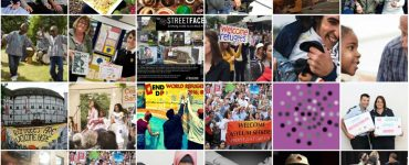 Collage of different photos of people holding up welcome signs