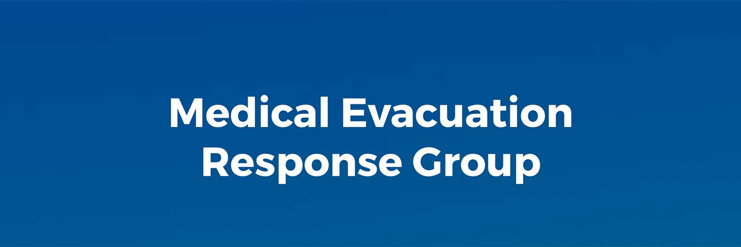Medical Evacution Response Group banner in blue
