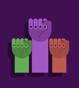 Three hands with fists clenched in different colours