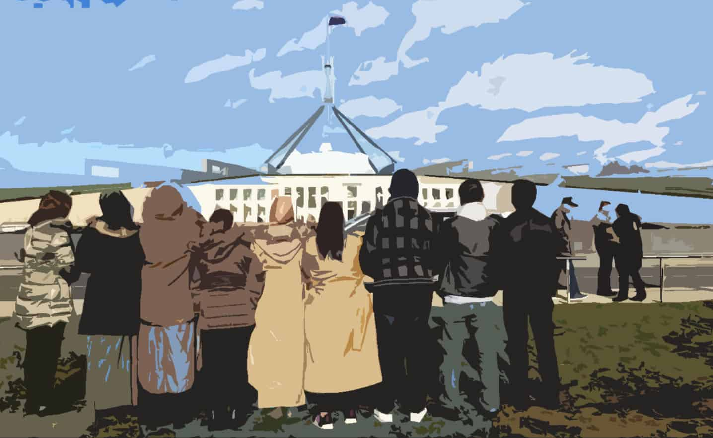 Refugee advocates with backs to camera and in front of Parliament House, in artistic style