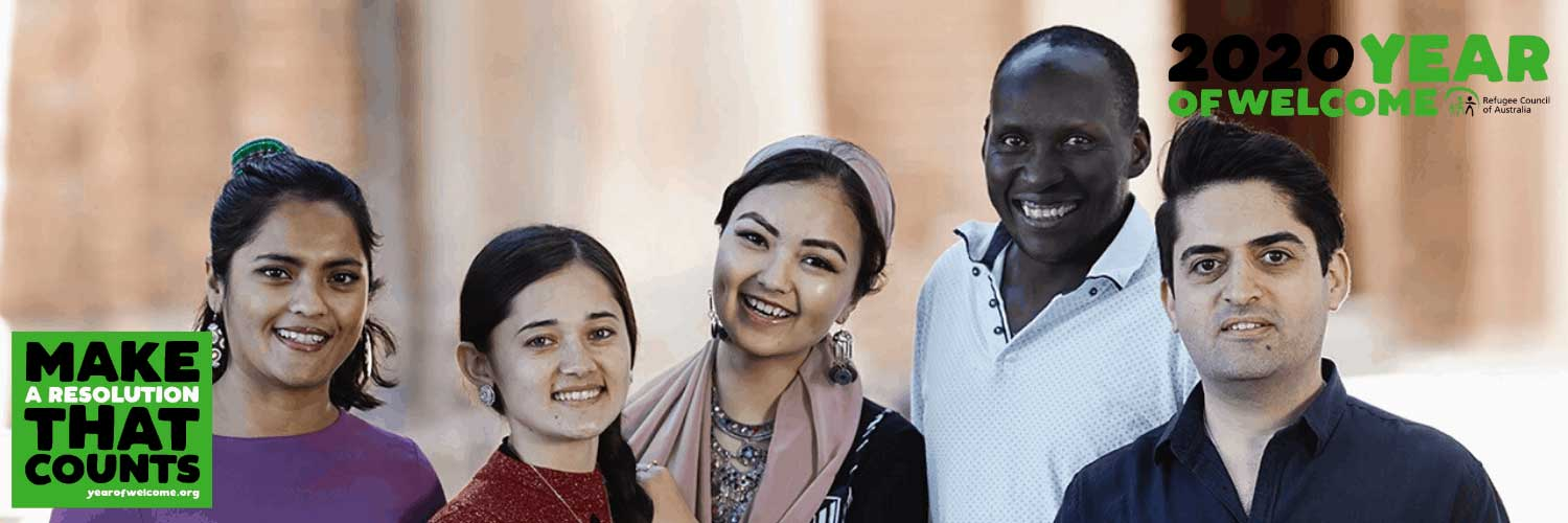 Group of young refugees smiling