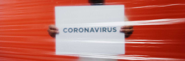 Coronavirus written on white background with red