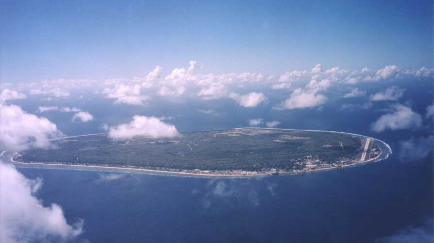 Island of Nauru from air with clouds