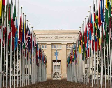 Row of country flags outside UN building