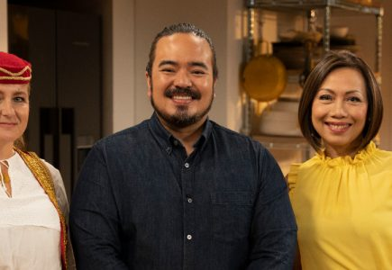 Jasna dolic, celebrity chef adam liaw and dai le on set at the cook up with adam liaw