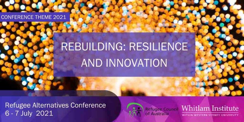 Colourful firework lights overlaid with Rebuilding: Resilience and Innovation