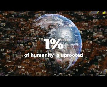 Globe with photos superimposed and 1% of humanity is uprooted in text